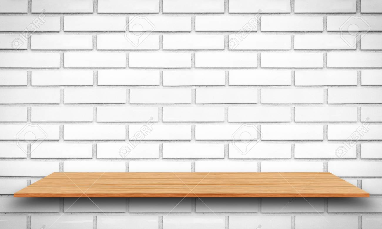 Empty Top Wooden Shelves And Brick Wall Background For Product
