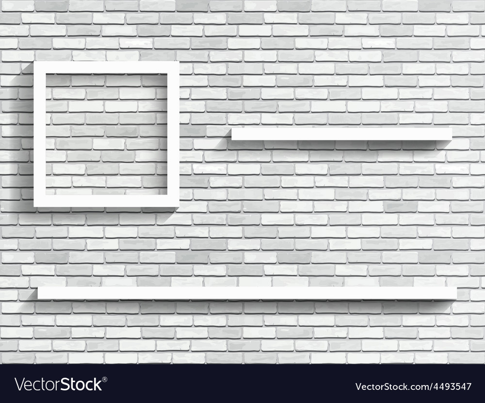 Shelves On White Brick Wall