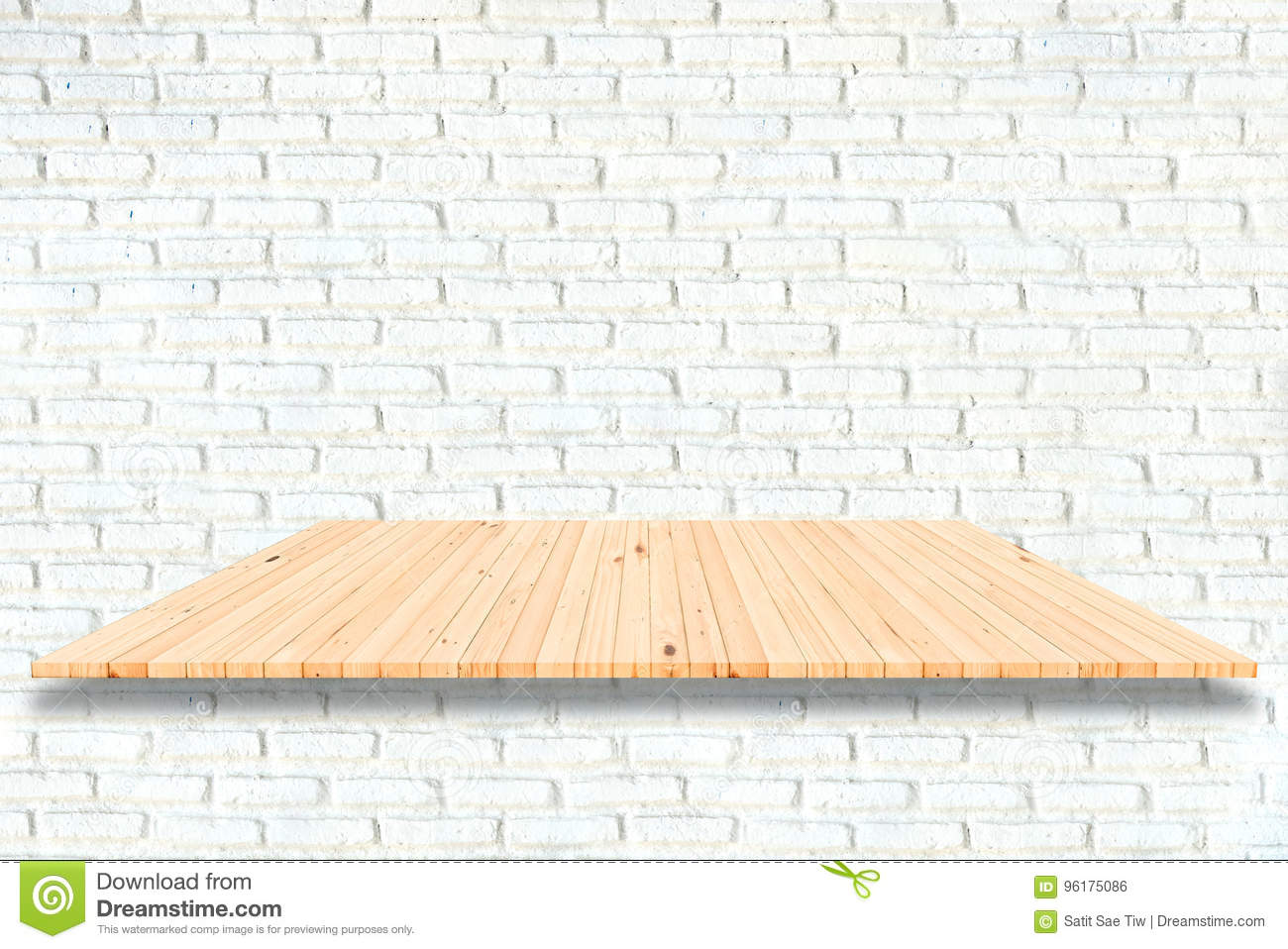 Wooden Shelves And White Brick Wall Background For Product