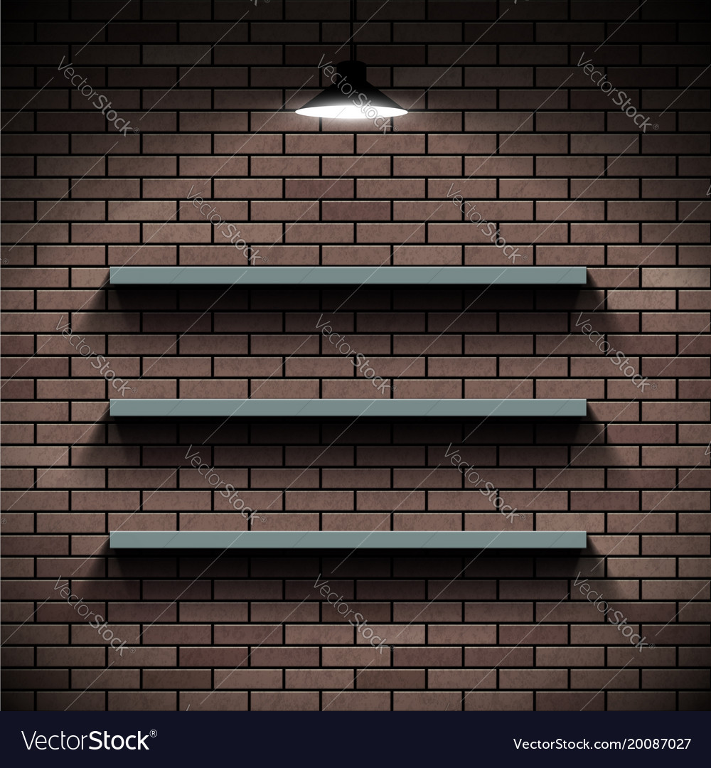 Empty Shelves On A Background Of A Brick Wall