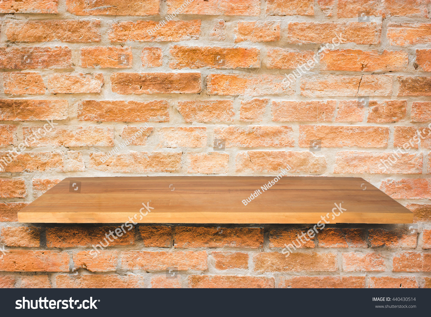 Empty Top Wooden Shelves On Brick Stock Photo (edit Now