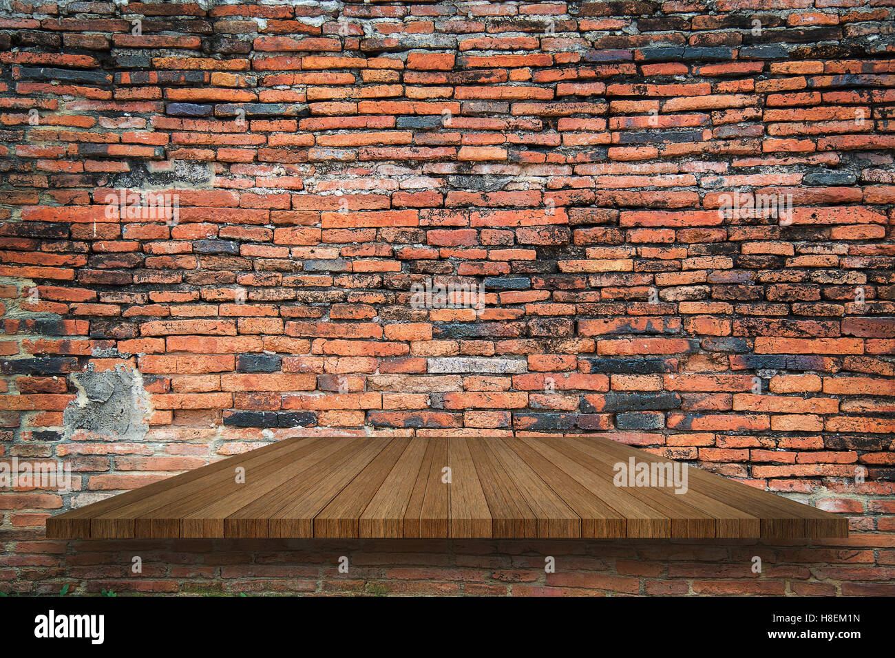 Empty Top Of Wooden Shelves On Ancient Old Red Brick Grunge