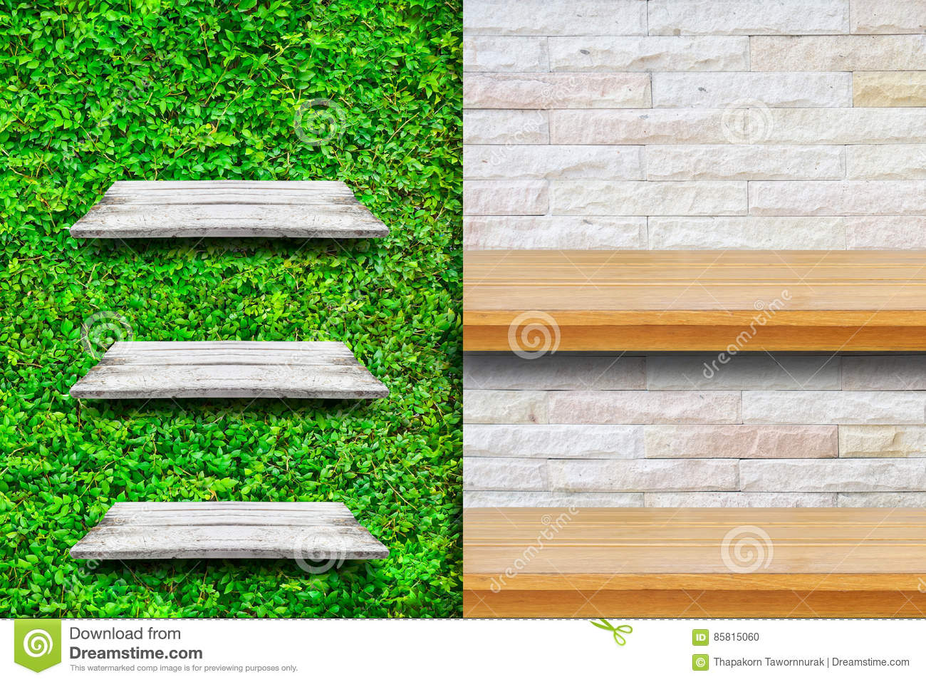 Wooden Shelves With Fresh Green Small Plants And Brick