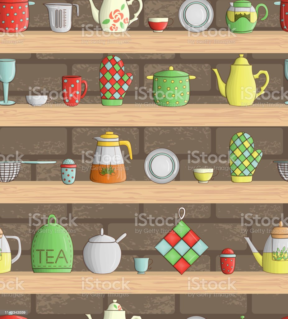 Vector Seamless Pattern Of Colored Kitchen Tools On Shelves