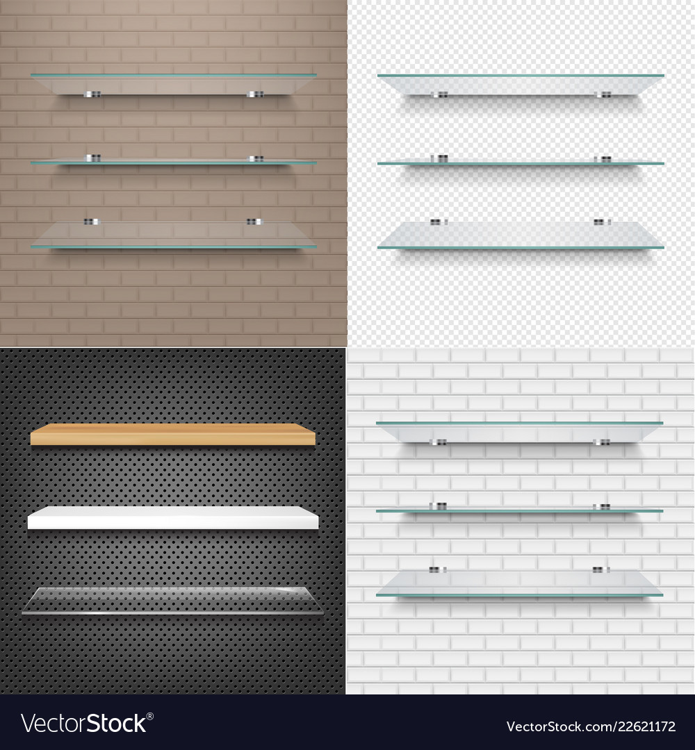 Glasses Shelves On Light Brick Background Set