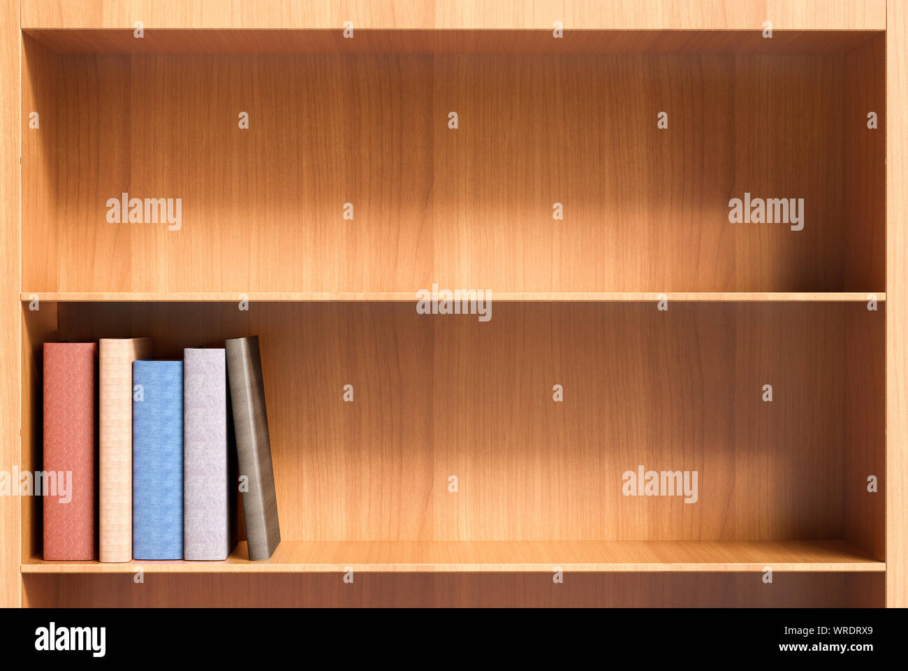 Two Shelves (one Empty) Of A Wooden Bookcase With A Few