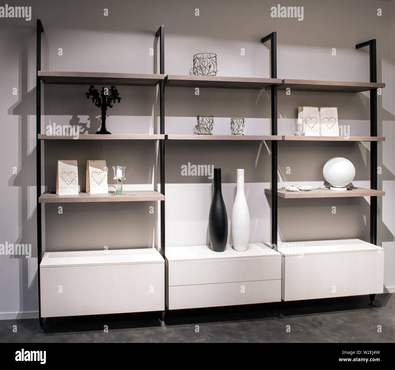Display Cabinet In A Modern Living Room With Open Shelves