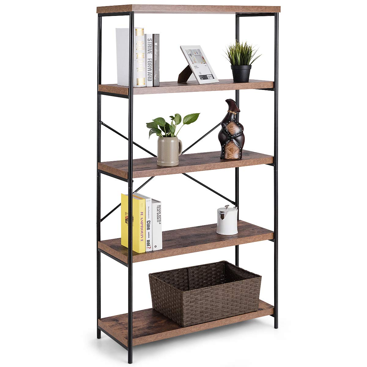 Tangkula 4-tier Bookcase, Multipurpose Rustic Industrial Bookshelf, Dã©cor  Accent For Home, Office, Living Room, Bedroom, Wood Shelves W/metal  X-shaped