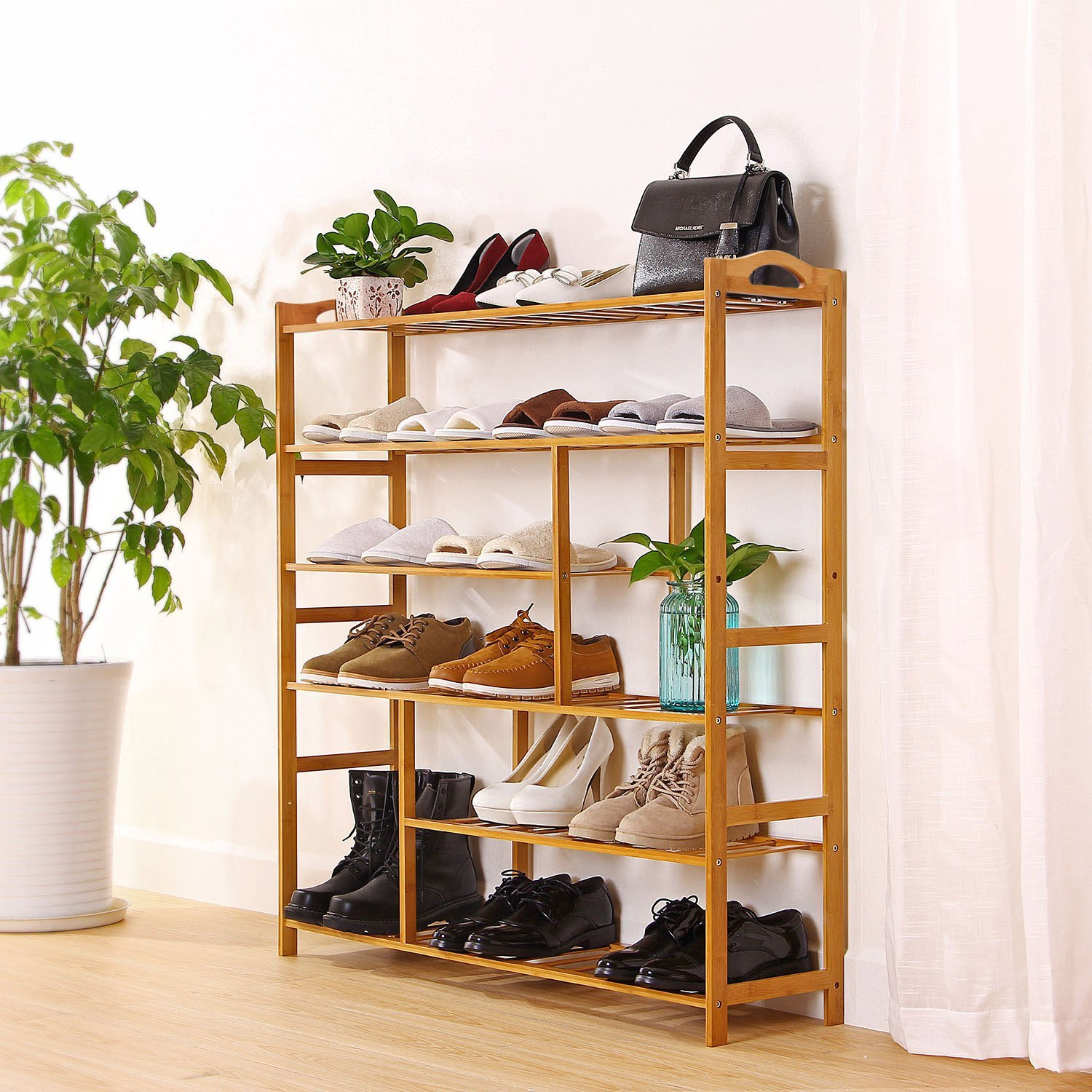 Details About 4 5 6 Tier Shoe Storage Rack Natural Bamboo Shelves Bamboo  Organizer Shoe Rack