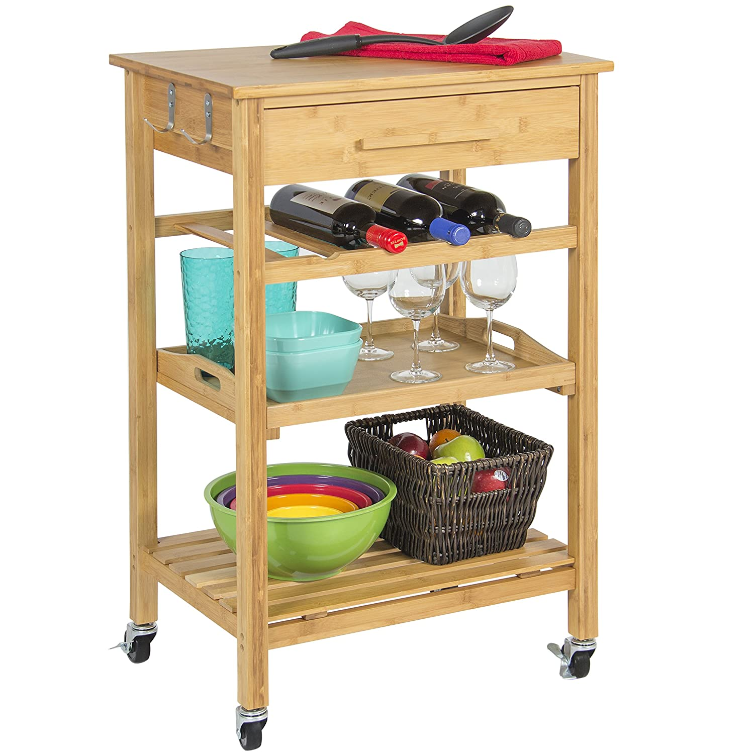 Best Choice Products Rolling Wood Kitchen Storage Cart Rack W/ Drawer And  Shelves Home Furniture - Brown