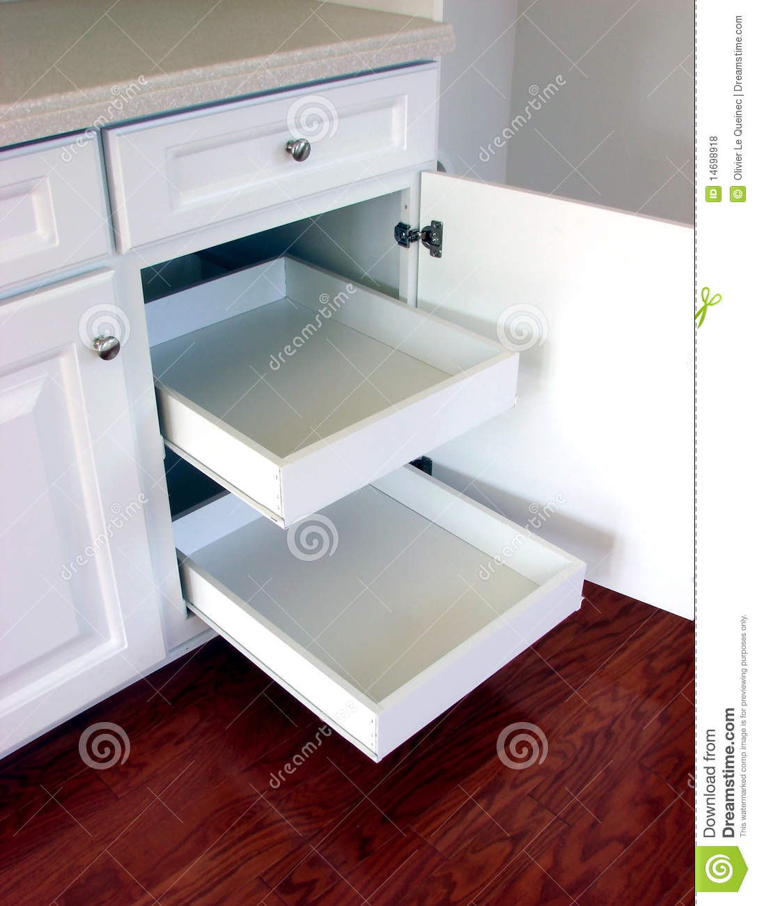 Pull Out Kitchen Drawers Shelves In A Modern House Stock