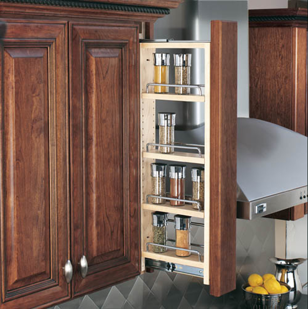Rev- A-shelf Filler Pullout Organizer With Wood Adjustable Shelves Wall  Accessories