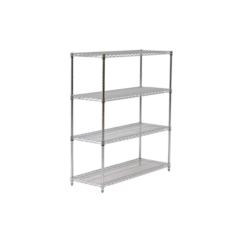 """Starter Wire Shelving Unit, 42""""w X 18""""d X 74""""h, 4 Shelves, Chrome Plated  Finish, Silver"""