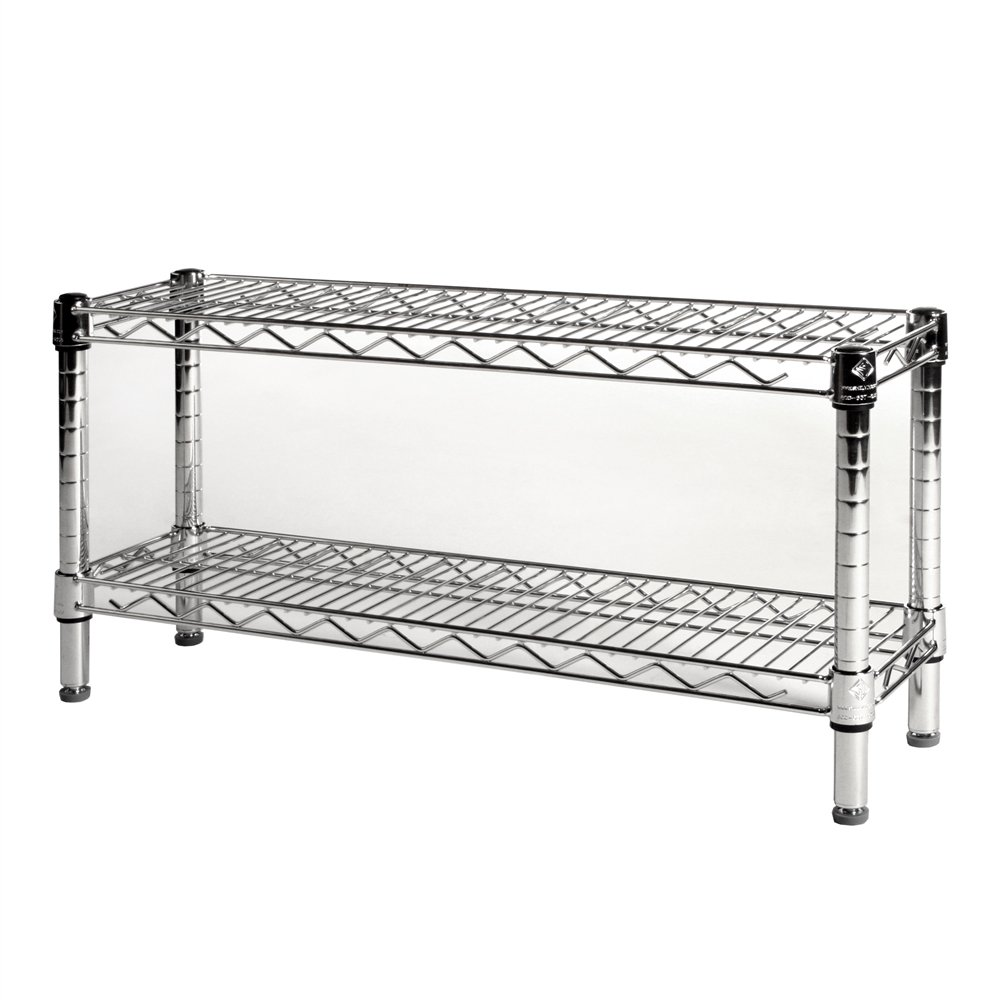 """8"""" Dx 30"""" W Chrome Wire Shelving With 2 Shelves"""