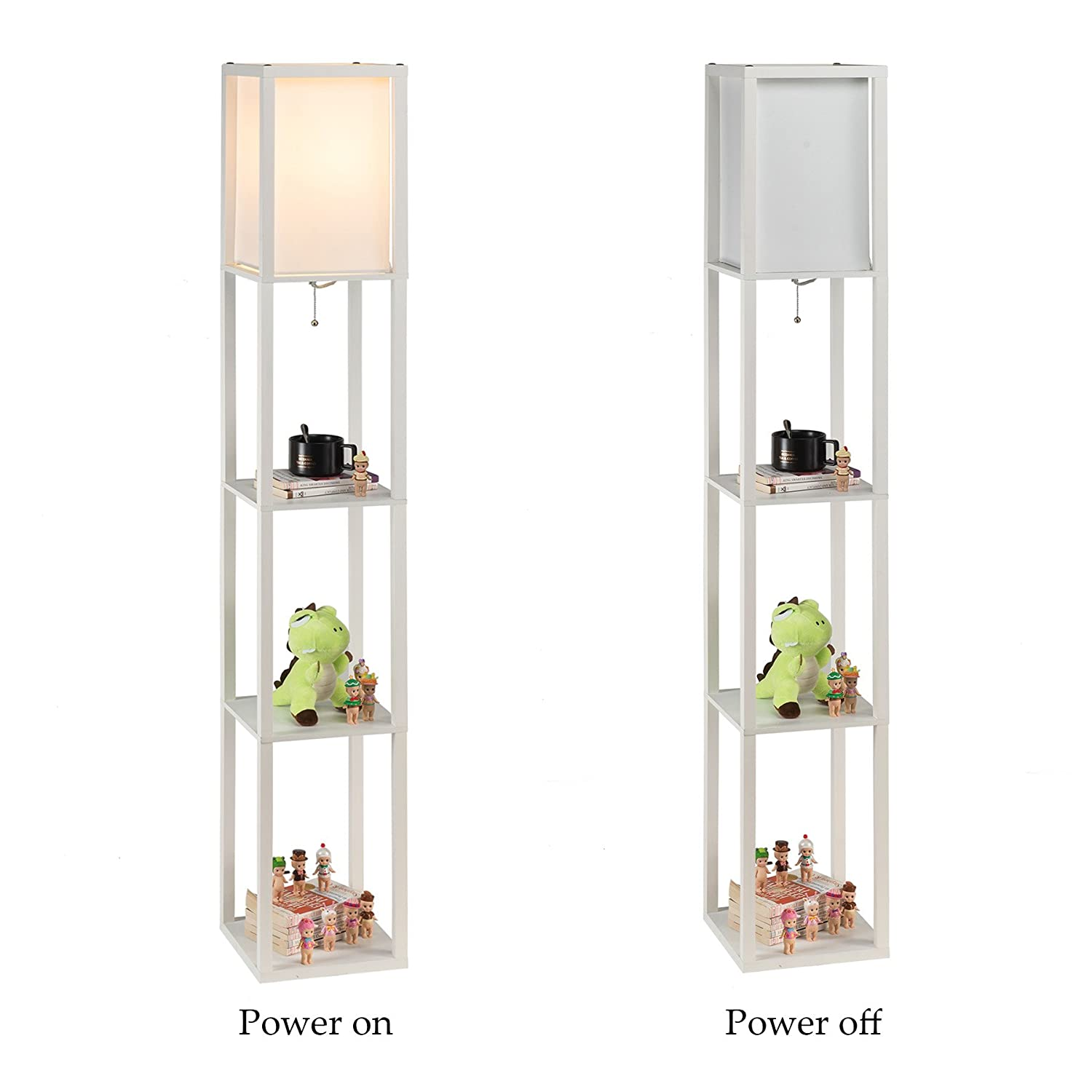 Details About Co-z Led Floor Lamp, Etagere Floor Lamp With Shelves, Modern  Standing Lamp With