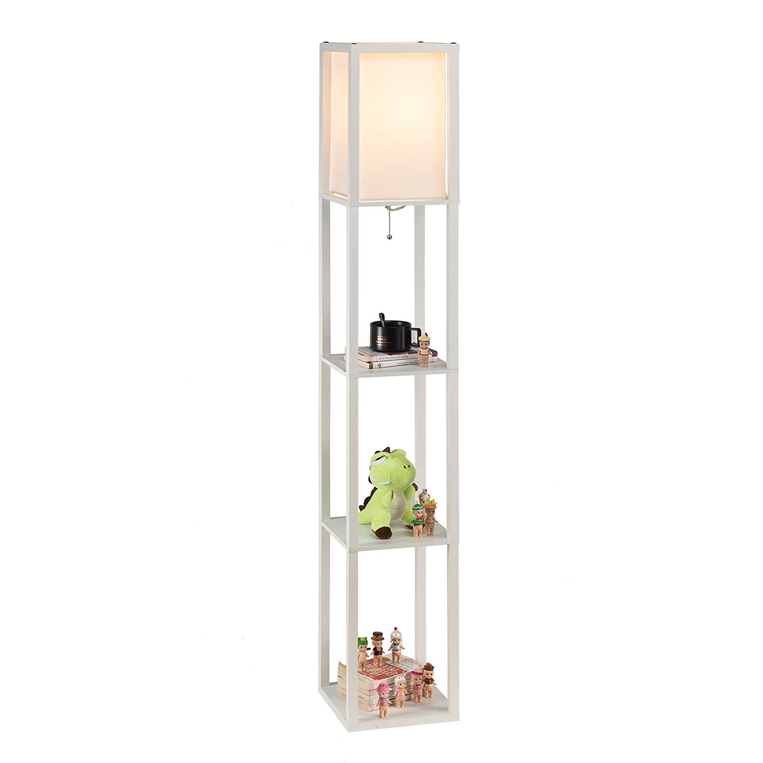 Floor Lamp, Etagere Lamp With Shelves, Standing Lamp With 3