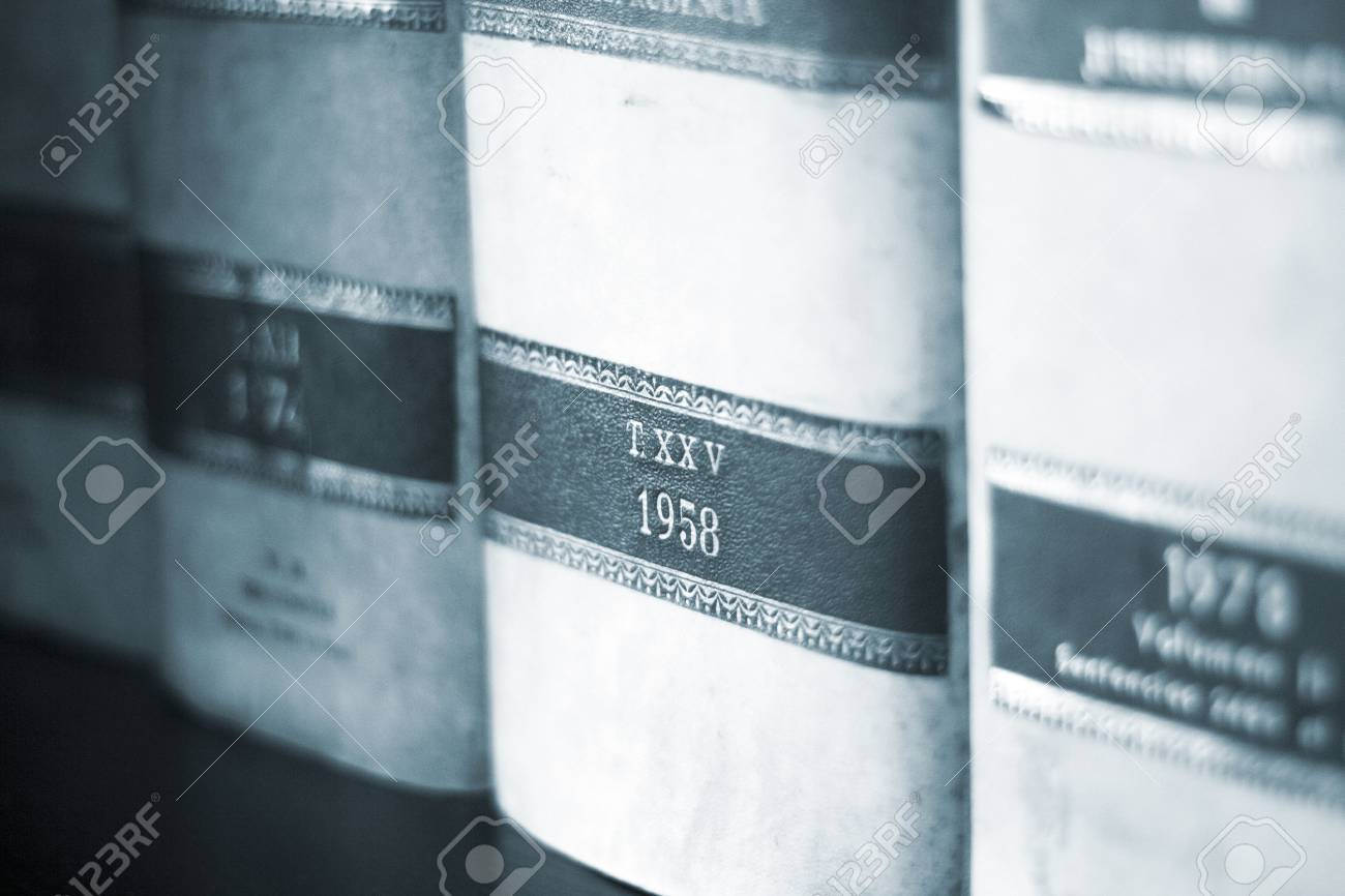 Old Legal Books Law Reports On Shelves Of Law Offices Of Attorneys