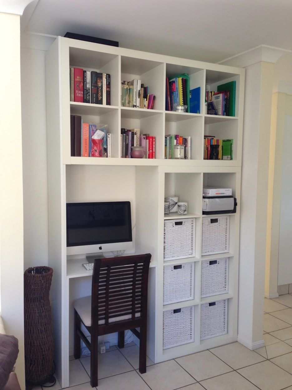 Furniture White Wooden Bookshelves Integrated With Floating