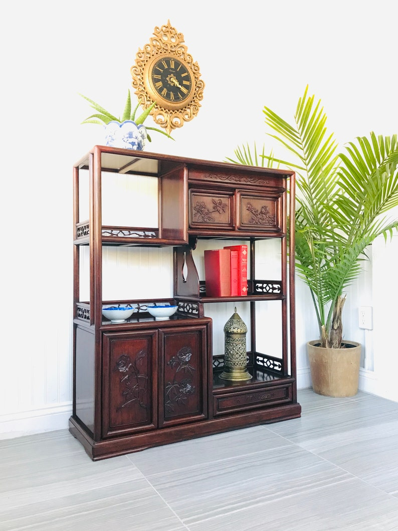 Vintage Rosewood Etagere Chinese Asian Curio Display Shelves