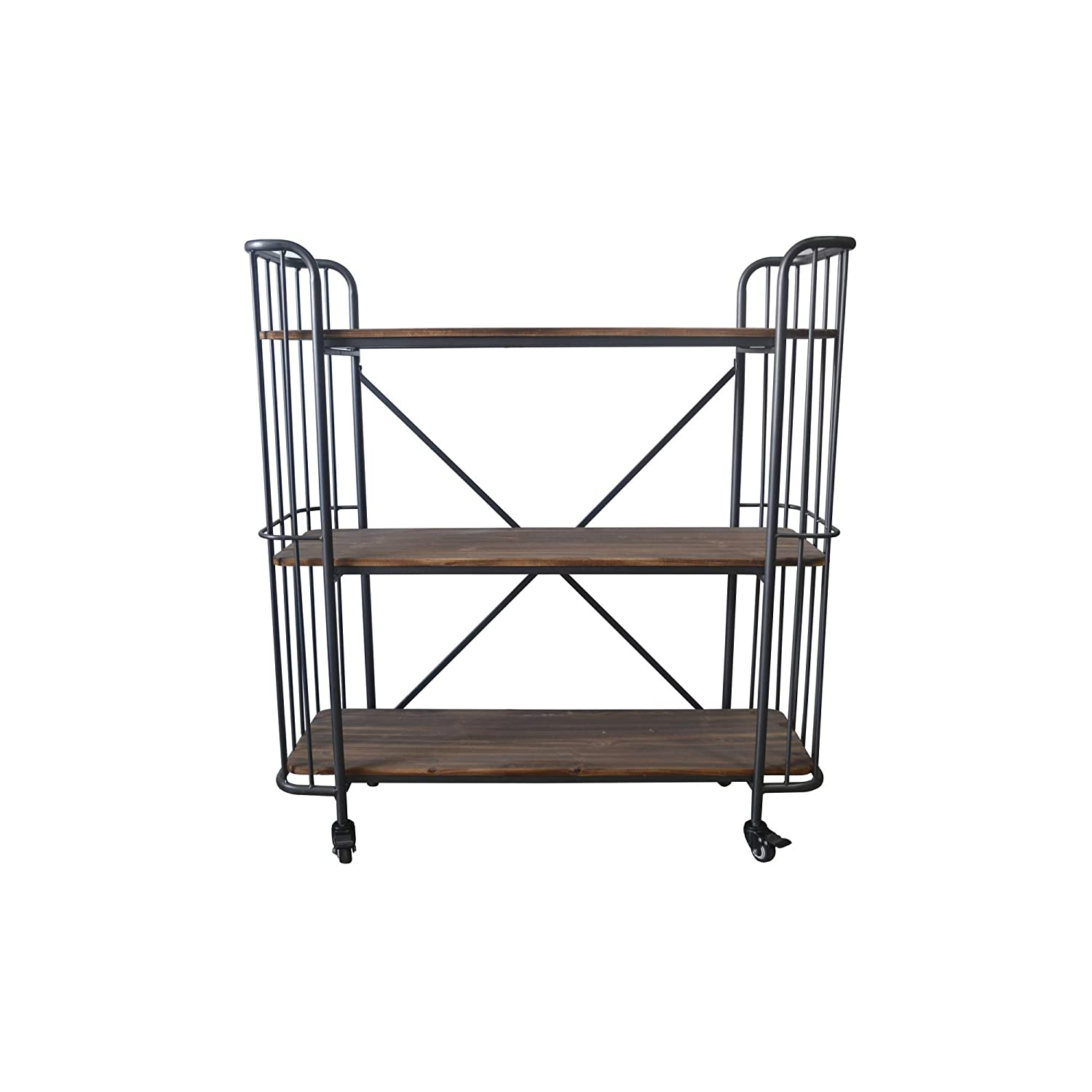 """Herrera 4173"""" Bookcase In Dark Gray With Casters, Shaped Tubular Steel  Frame And Three Solid Wood Shelves, By Artum Hill"""