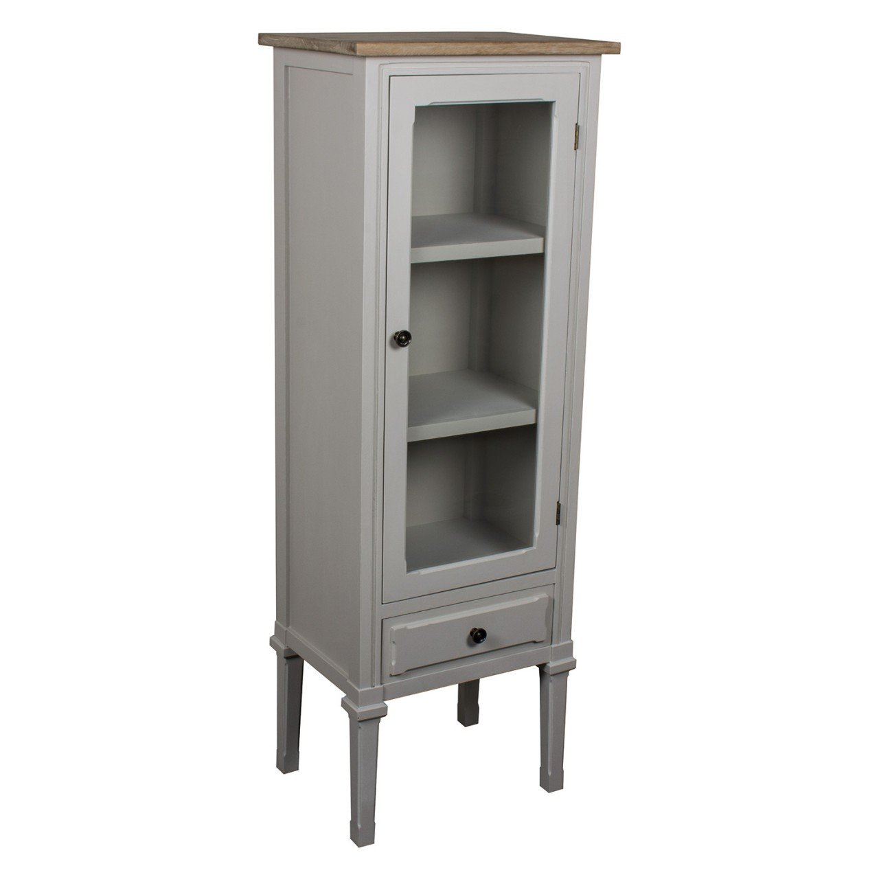 French Country Grey Furniture Shelves Drawer Glass Cabinet
