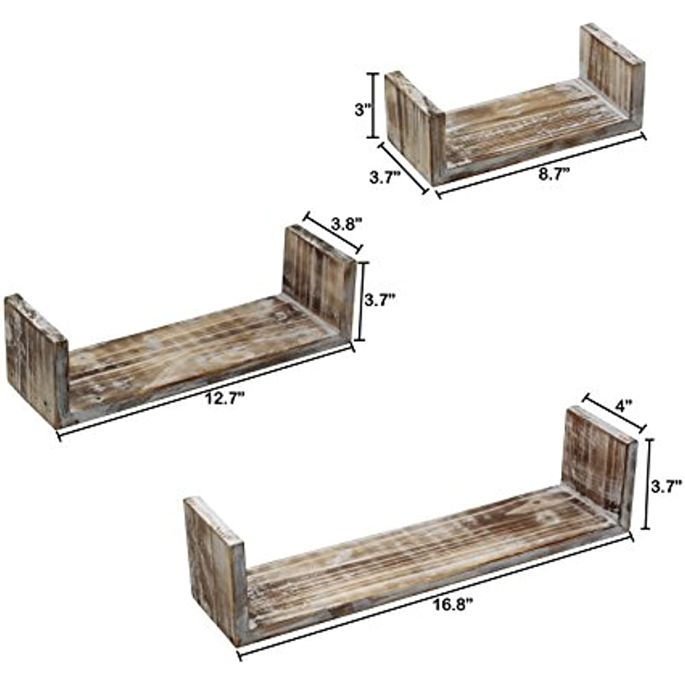 Details About Vintage Rustic Torched Wood Hanging Wall Mount Floating  Shelves - 3 Piece White