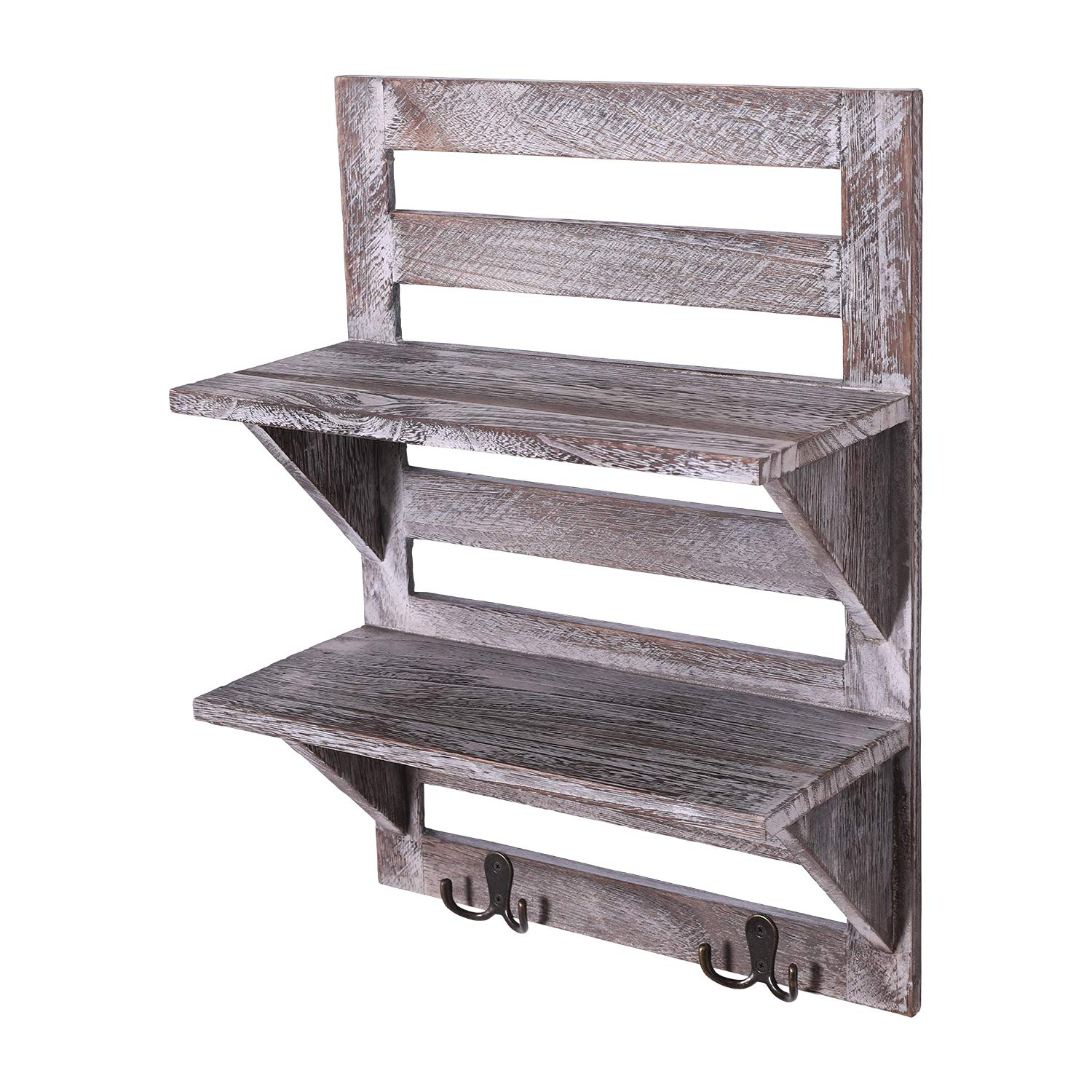 Rustic Wall Mounted Shelves – Kitchen Or Bathroom Farmhouse Rustic Dã©cor –  Vintage Wall Shelves With Two Double Iron Hooks & 2-tier Storage Rack –