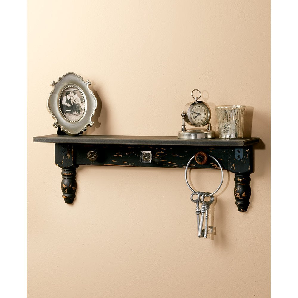 """Vintage Wall Shelves With Hooks 20"""" Wide In"""