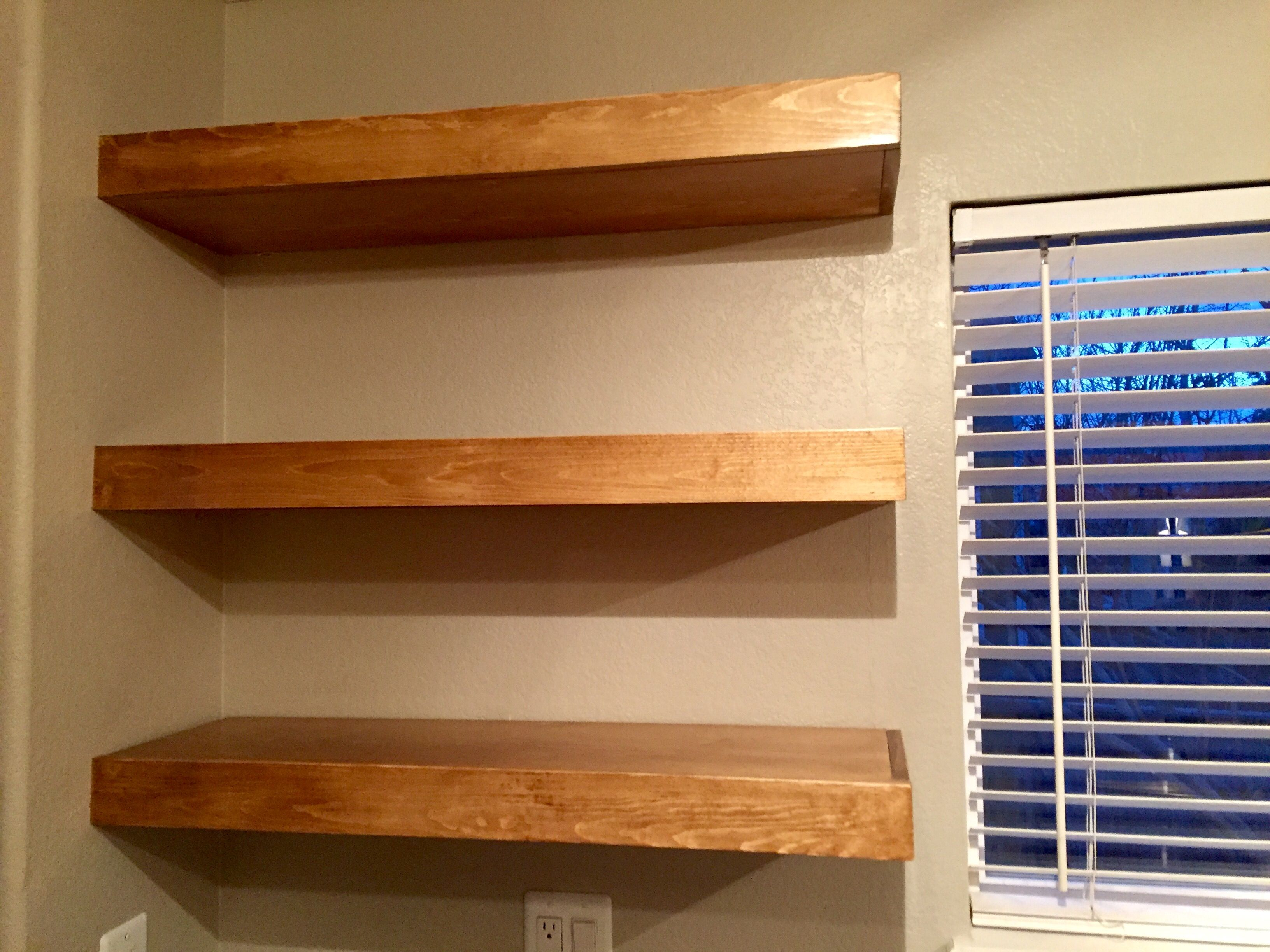 Kitchen Floating Shelves Early American Minwax Stain 3 Coats