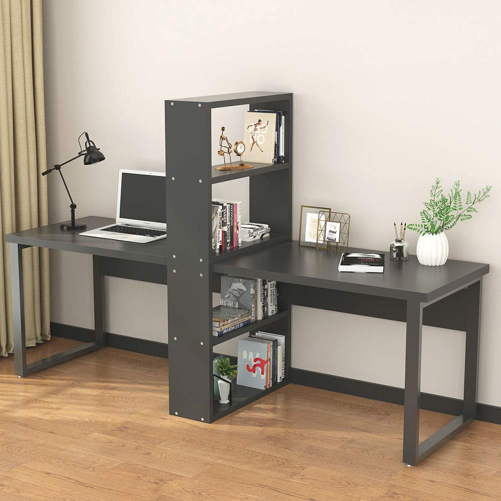 Computer Office Desk With Shelves For Two Person, Extra