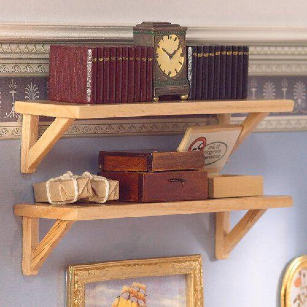 The Dolls House Emporium Two Large Pine Wall Shelves