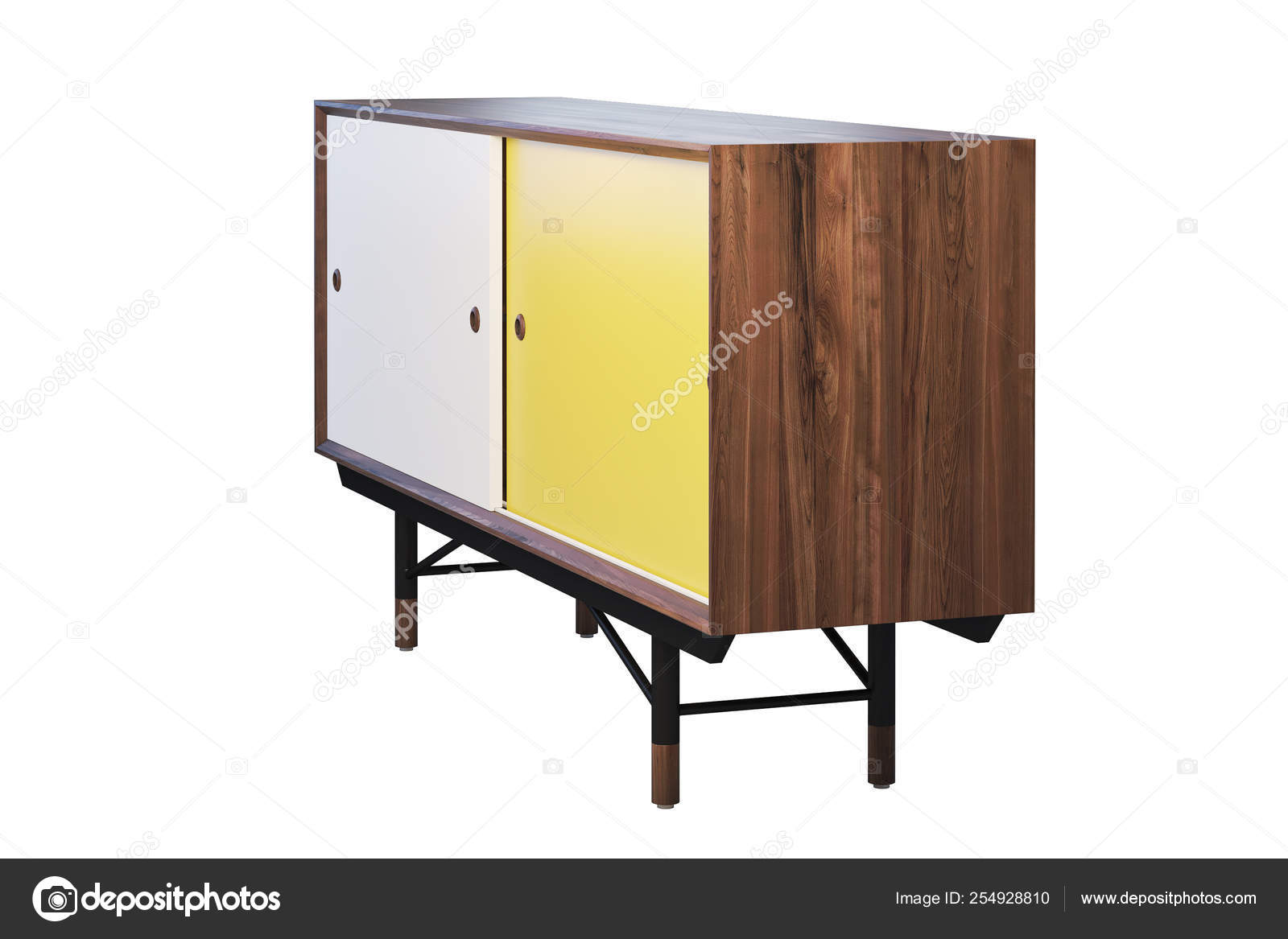 Sideboard With Retractable Shelves On The Legs 3d Render