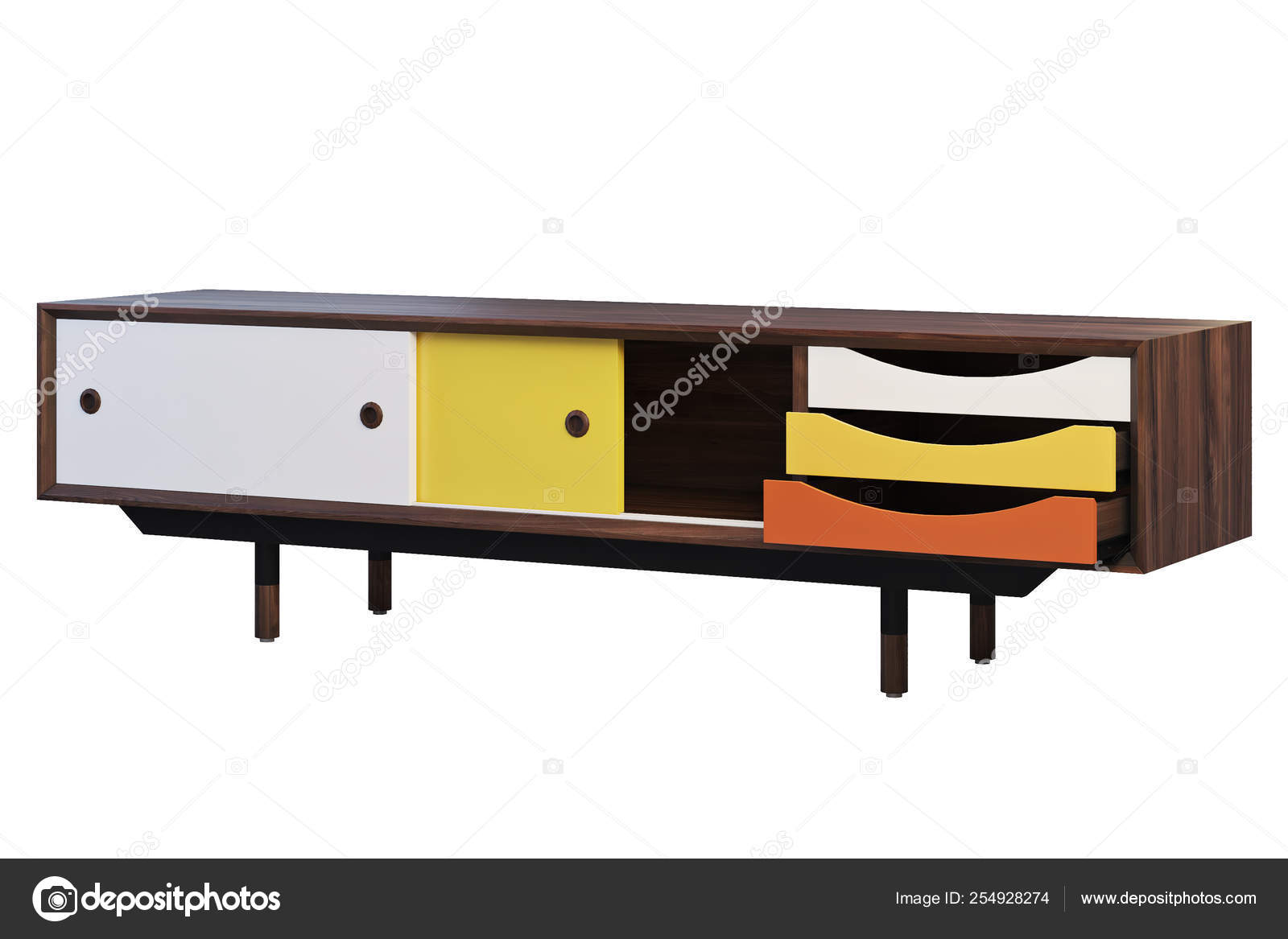 Tv Cabinet With Retractable Shelves 3d Render — Stock Photo