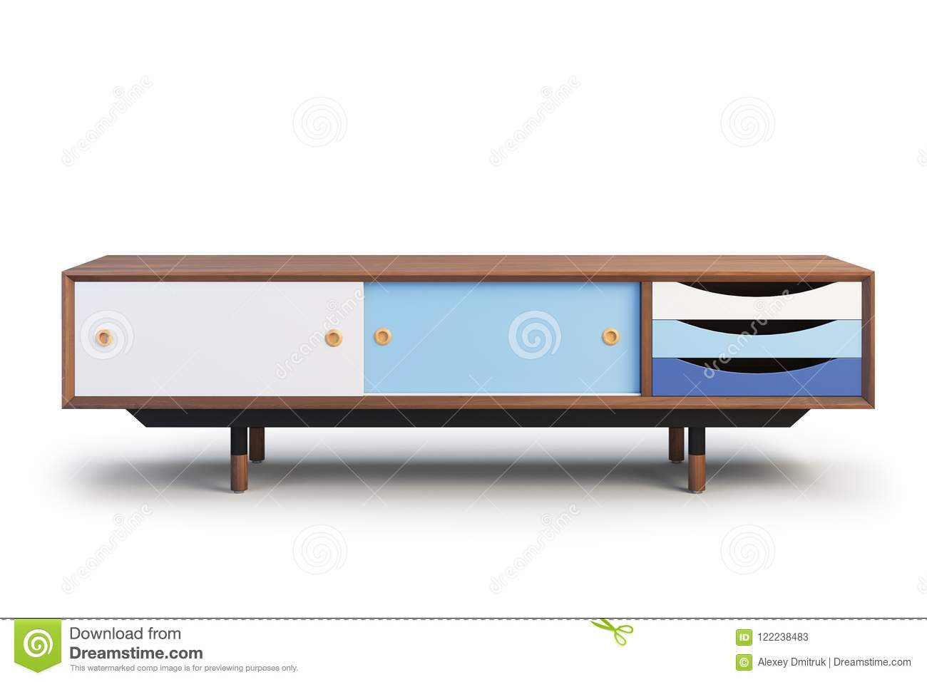 Tv Cabinet With Retractable Shelves 3d Render Stock