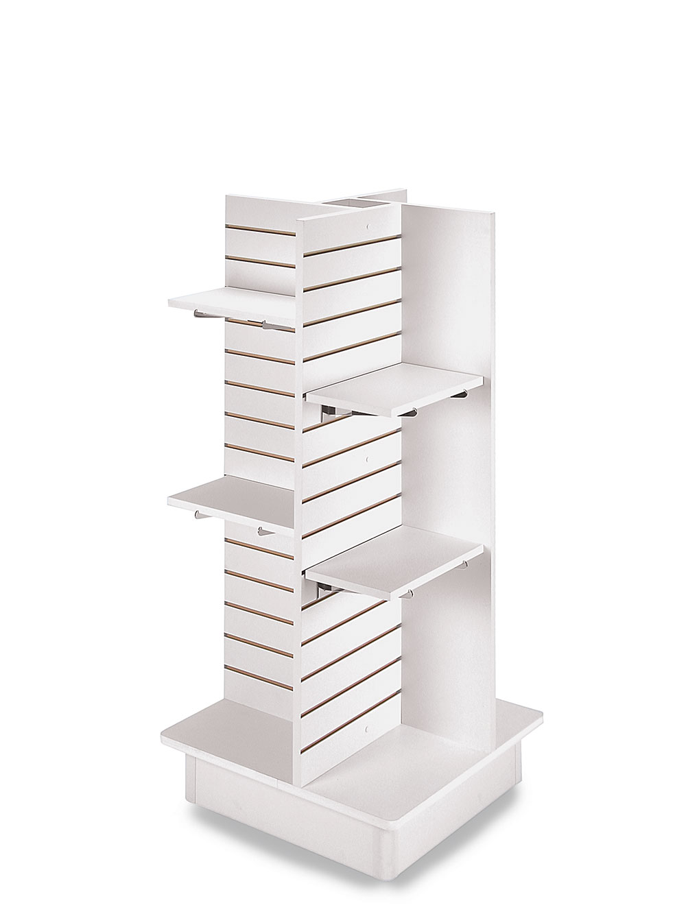 """Details About 4-panel White Slatwall Tower With Casters And Shelves (23""""l X  23""""w X 54""""h)"""