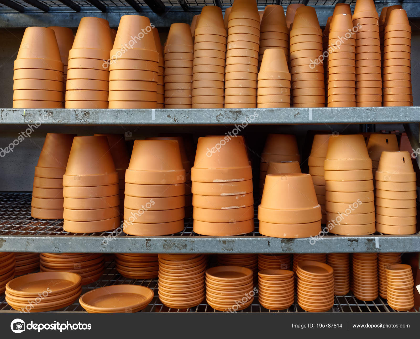Planters Shelves Filled Terra Cotta Pots — Stock Photo
