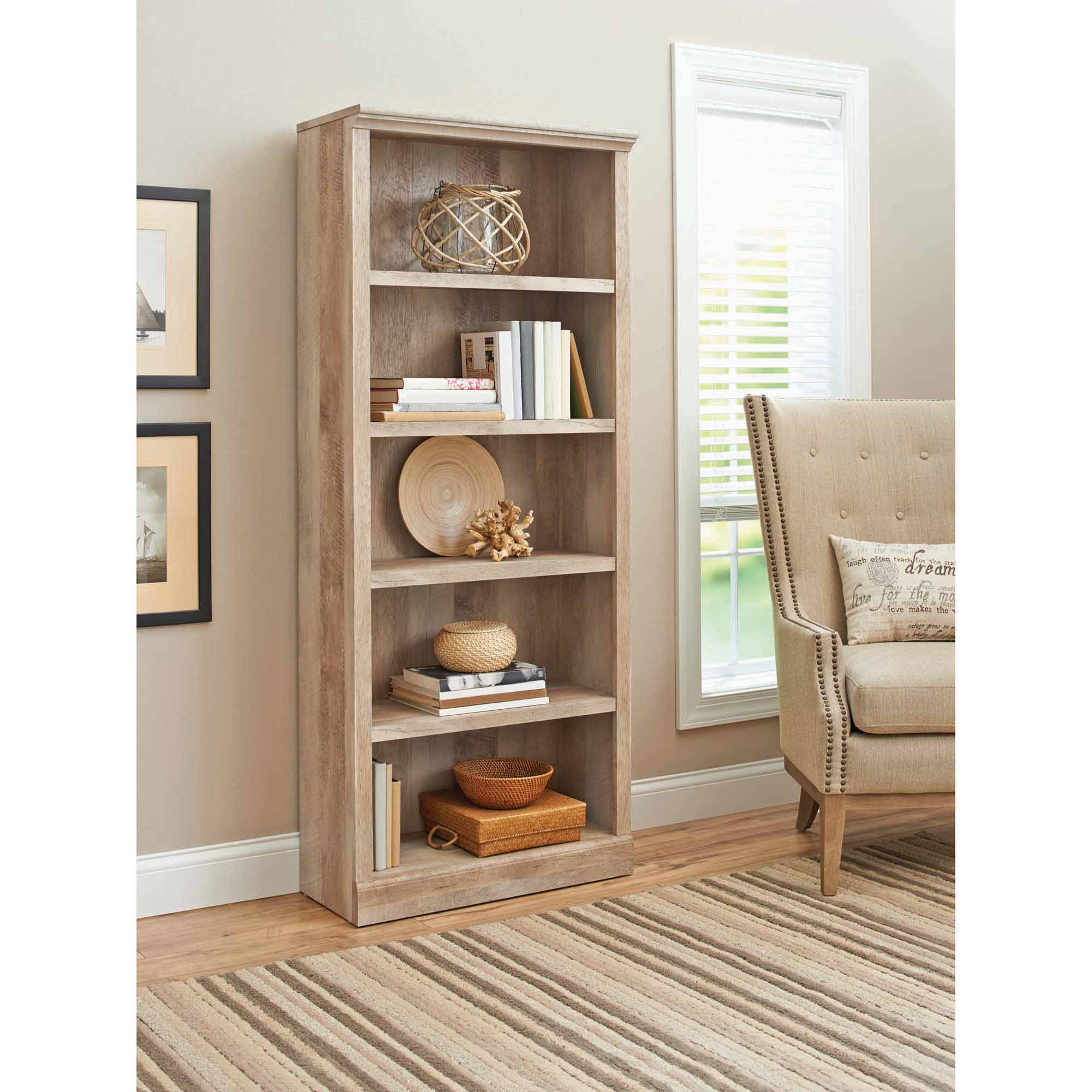 Details About 5 Shelves Wood Bookcase Adjustable Rustic Shelf Storage Tall  Country Bookshelf