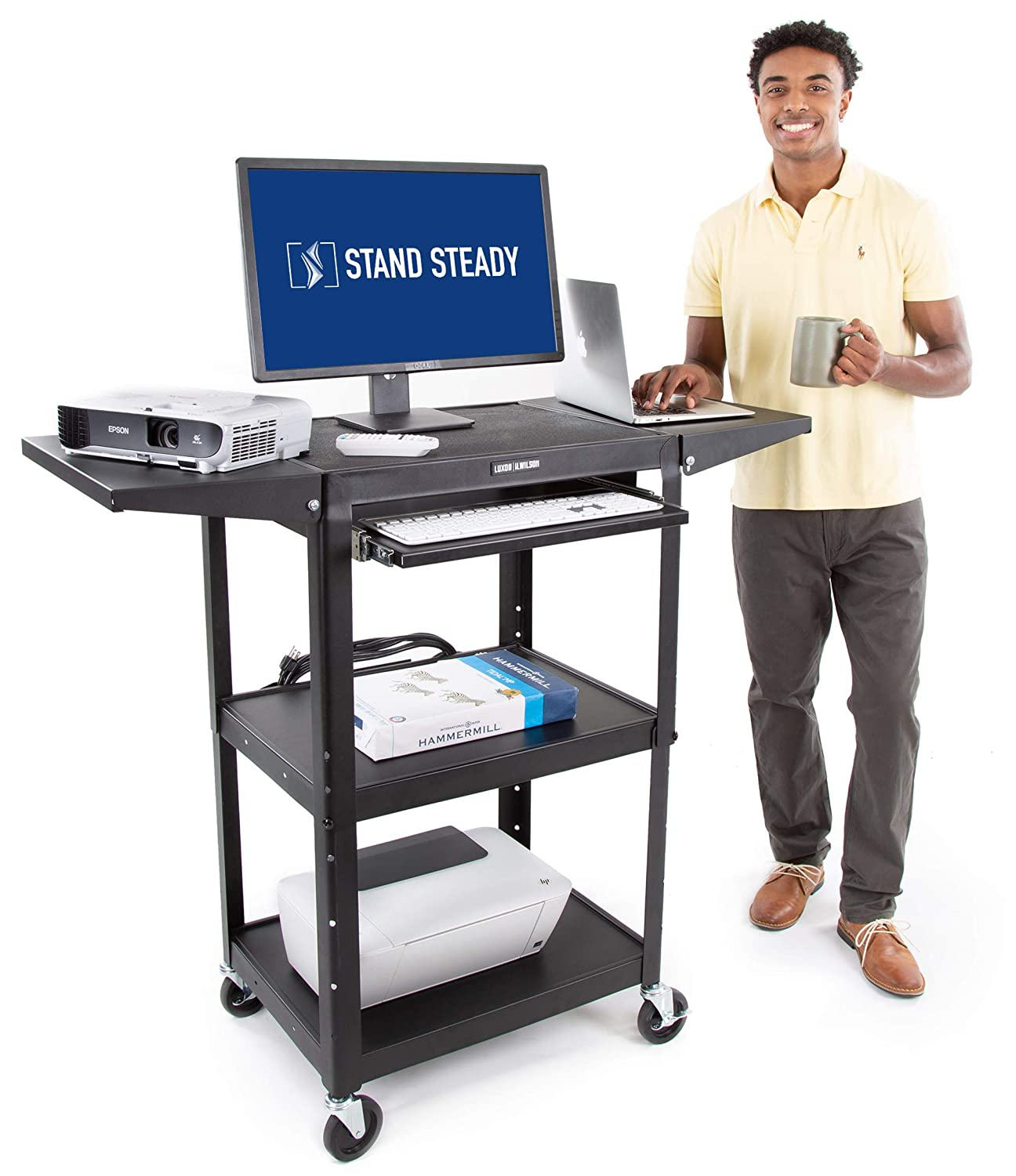 Line Leader Av Cart With Drop Leaf Shelves And Pullout Laptop Tray - Height  Adjustable Utility Cart - Includes Power Strip And Cord Management - Great