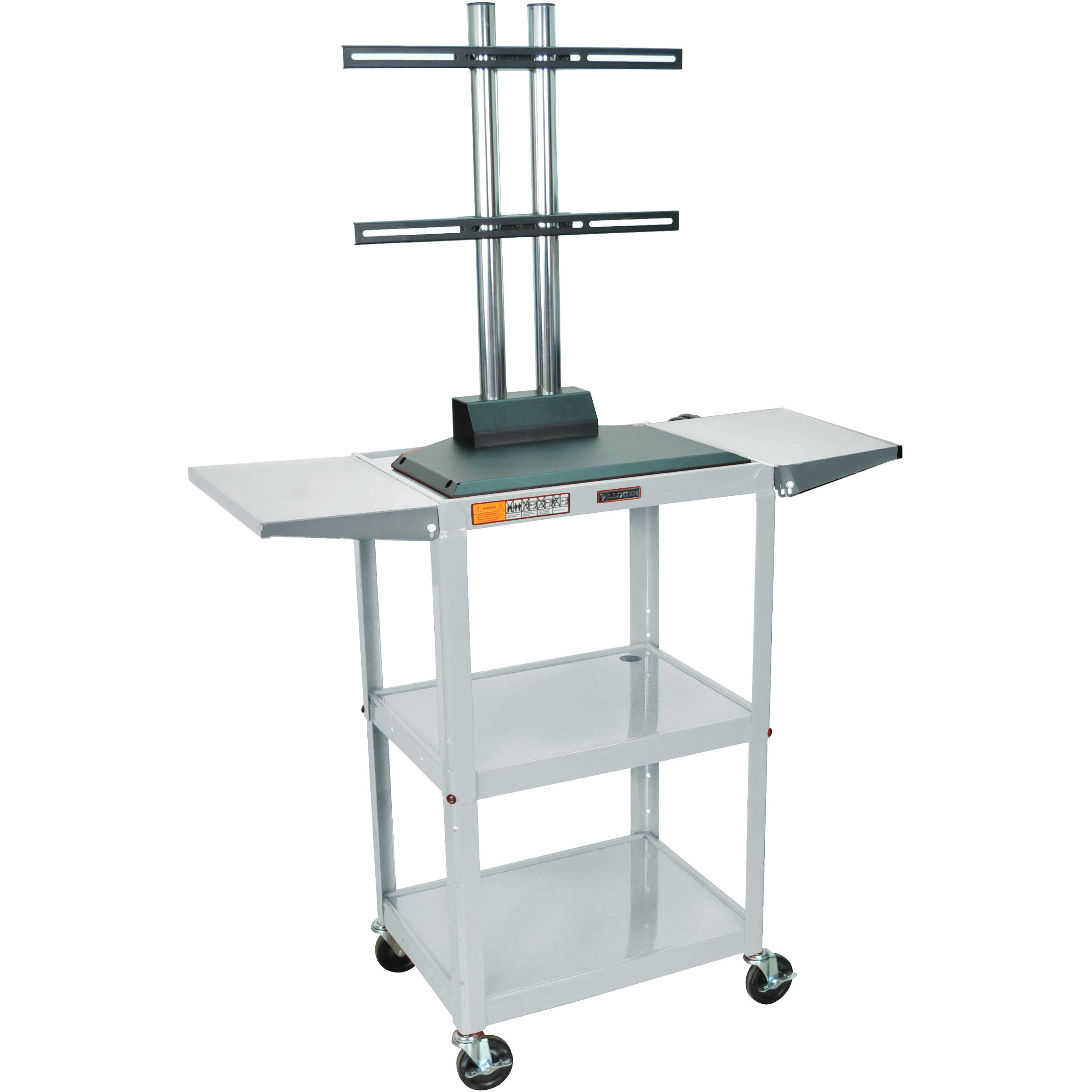 Luxor Avj42dl-lcd Steel Adjustable A/v Cart With Lcd Mount And Drop Leaf  Shelves (gray)