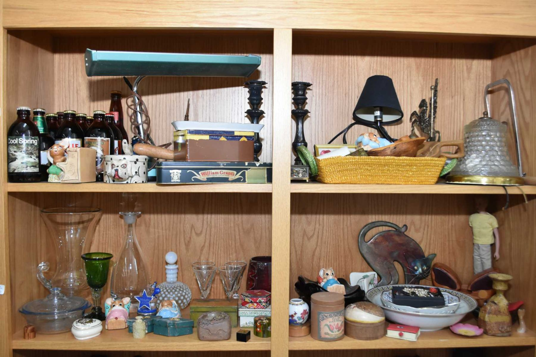 Two Shelves Of Vintage Collectibles Including Candelabra