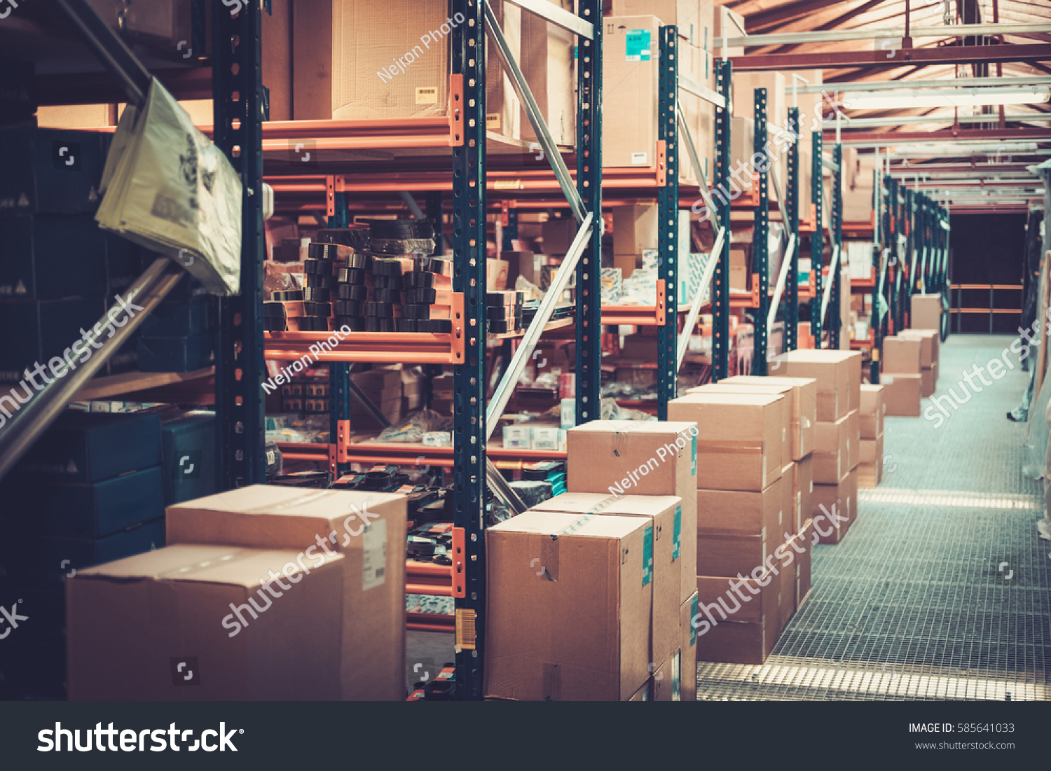 Crates Boxes On Shelves Warehouse Stock Photo (edit Now