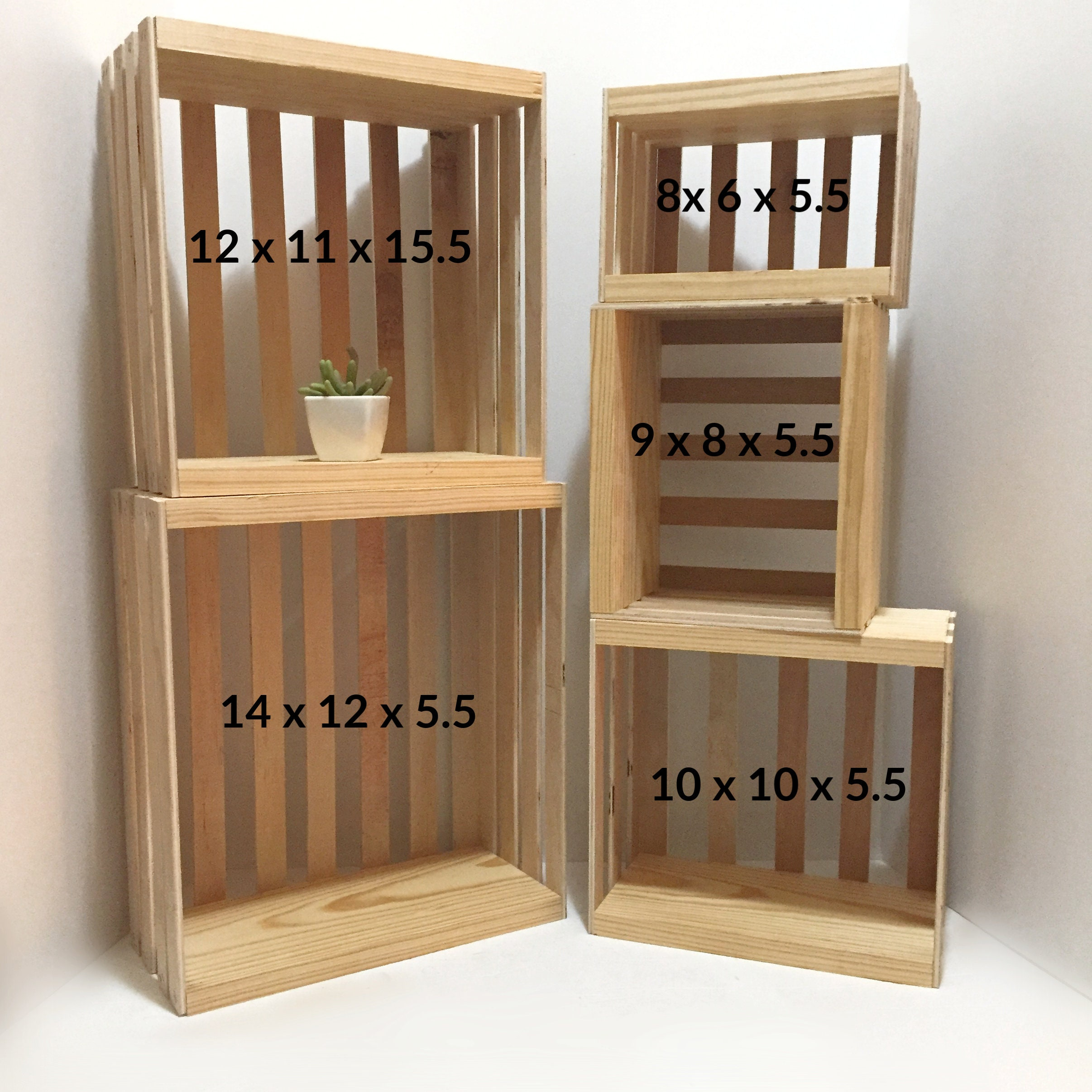 New! Nested Crates Set Of 5 Displays Shelves Shelving