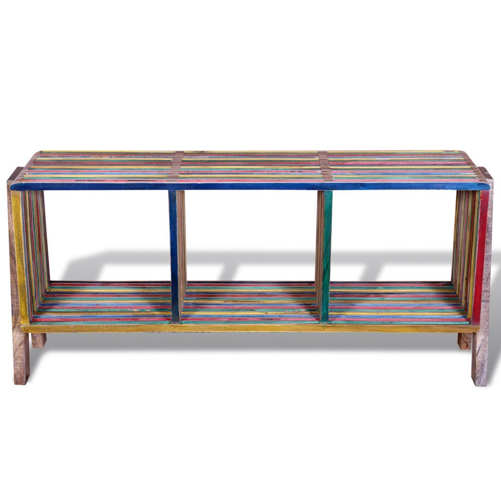 Anself Colourful Tv Cabinet With 3 Shelves Stackable Reclaimed Teak