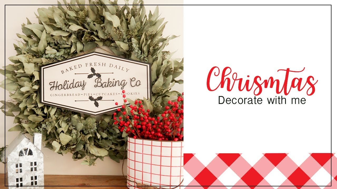 Decorate With Me For Christmas   Farmhouse Open Shelves For Christmas   2019
