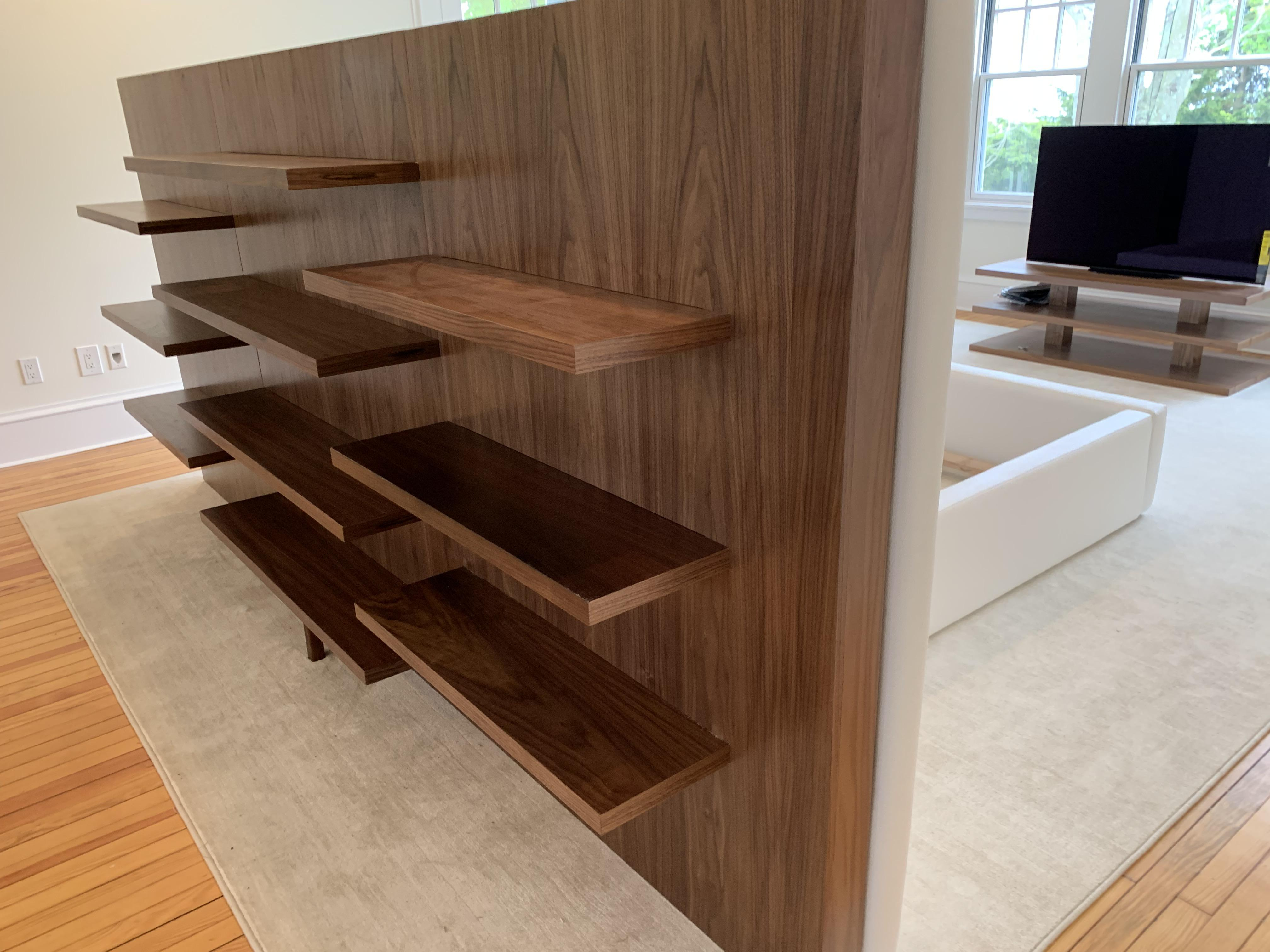 Some Floating Walnut Shelves Other Side Is A Bed Made The