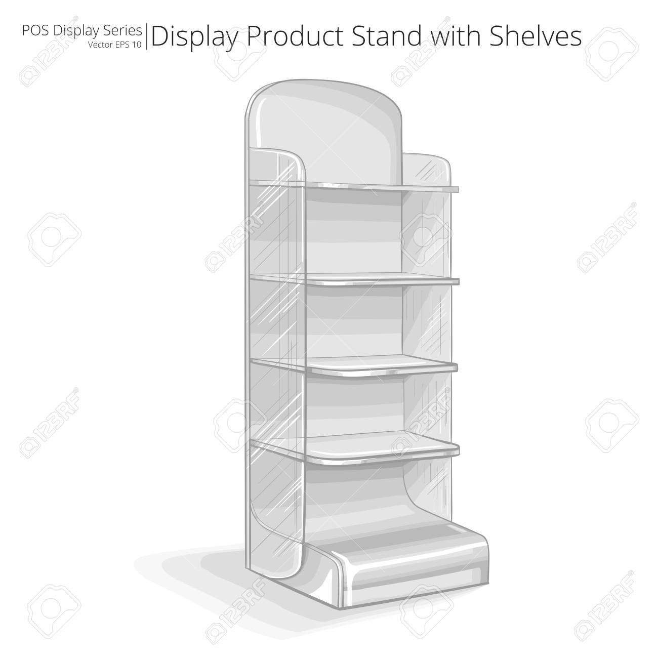Product Stand With Shelves Vector, Illustration Of A Product