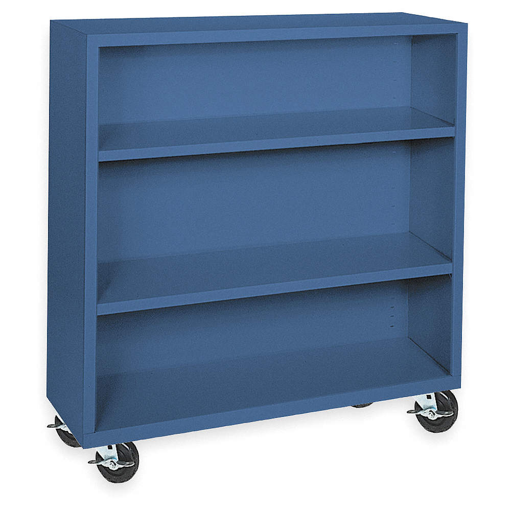 """46"""" X 18"""" X 48"""" Elite Series Mobile Bookcase With 3 Shelves, Blue"""