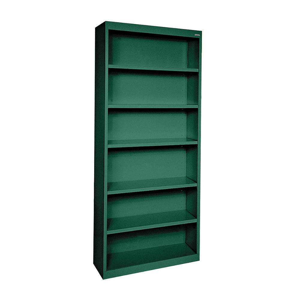 """34"""" X 12"""" X 82"""" Elite Series Bookcase With 5 Shelves, Green"""