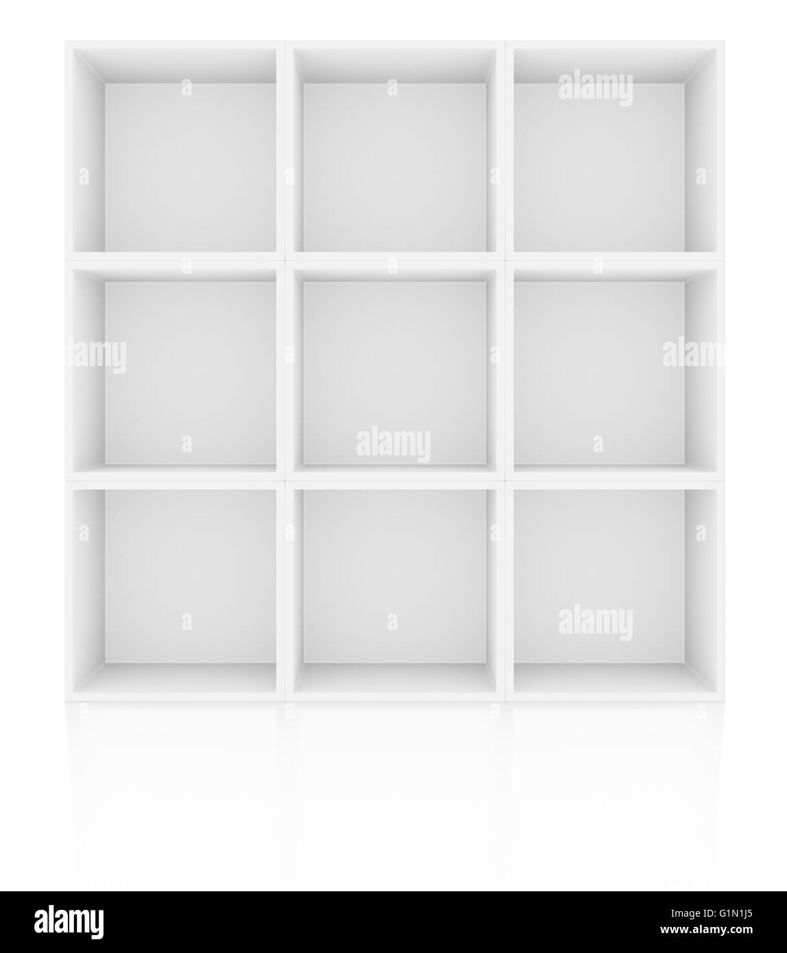 Empty Shelves In White Floor With Reflection Stock Photo
