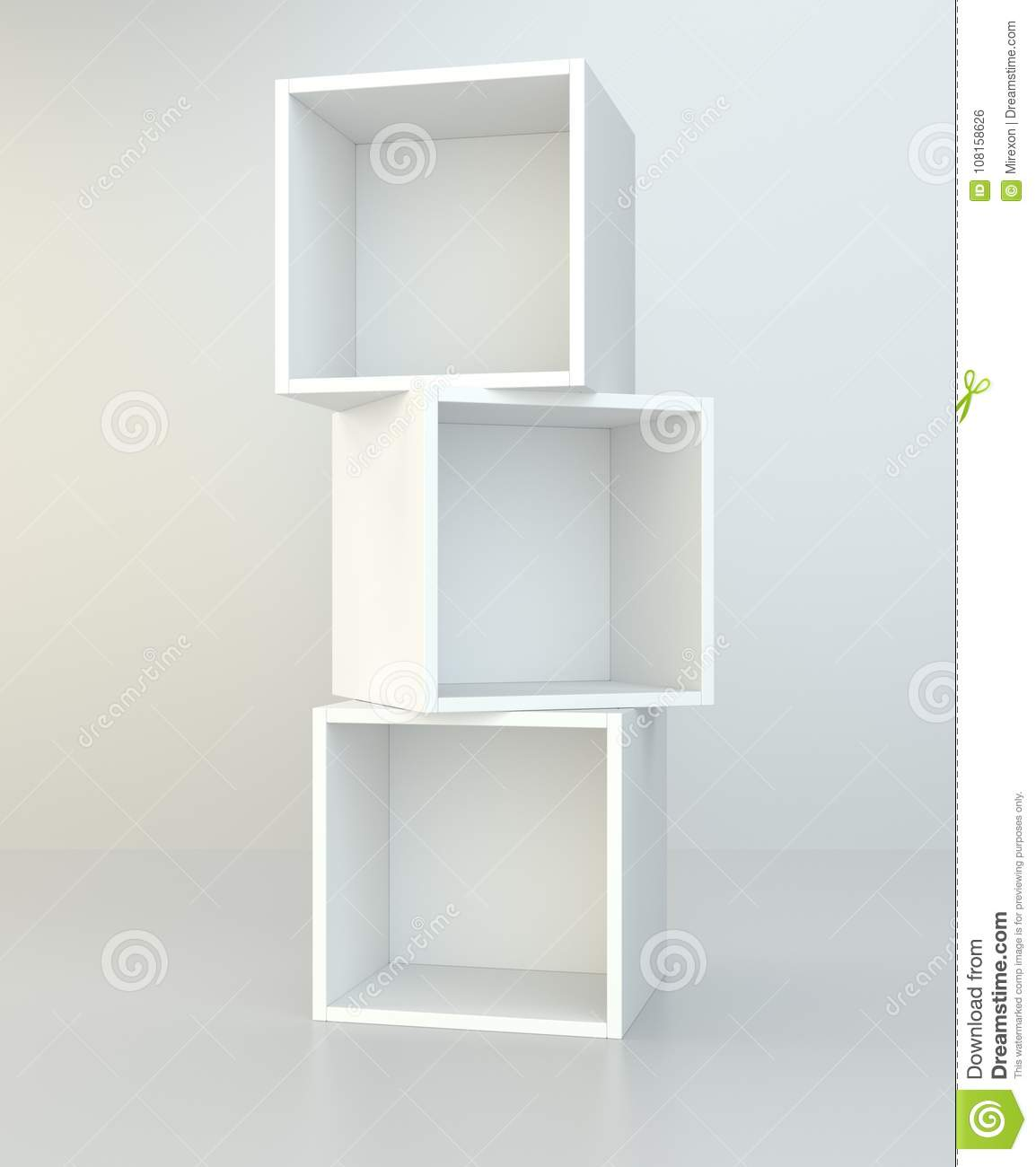 White Box Shelves 3d Rendering On Background Room Wall And
